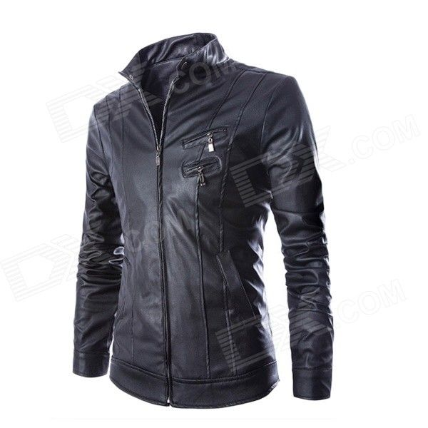 54 best 2 man clothing images on pinterest clothing black and ps py15 mens korean style fashionable slim collar double zipper pu motorcycle jacket black xl fandeluxe Gallery