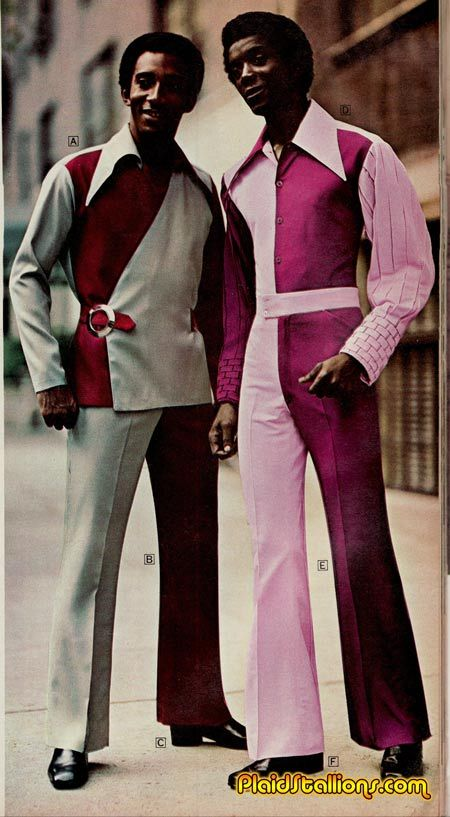 Mens 1970s colour splice suit and jumpsuit | His Vintage ...