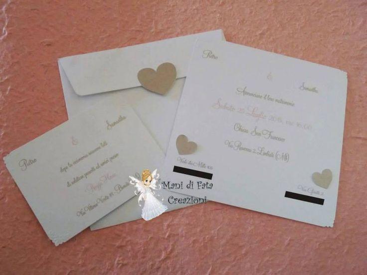 Partecipazione matrimonio cuori - Wedding hearts invite