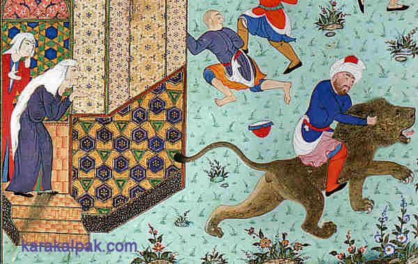 "The shoemaker who rode a lionDetails from ""The shoemaker who rode a lion"", from the Shahnama of Shah Tahmasp, probably Tabriz, about 1530. Tehran Museum of Contemporary Art."