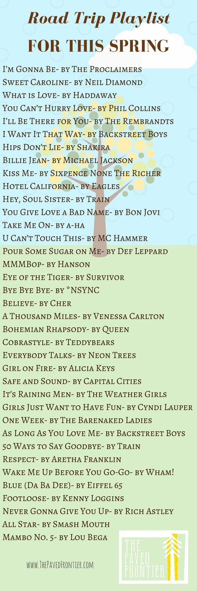 The perfect, never-ending playlist for this Spring's road trip!  And other this to consider on your first trip out this season. -The Paved Frontier
