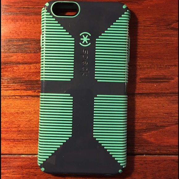 iPhone 6S Plus Case Speck iPhone case for 6S Plus. A few light scratches, otherwise in great shape. Heavy silicone for shock resistance. Navy blue and lime green. Speck Accessories Phone Cases