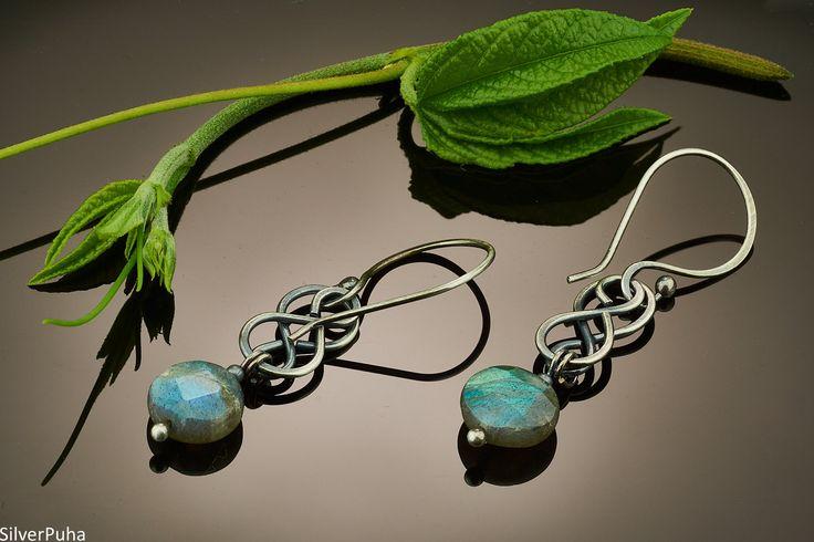 Labradorite large Celtic knot silver earrings by SilverPuha on Etsy