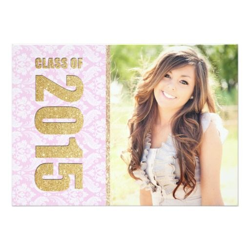 100 best cute graduation invitations images on pinterest pink damask photo graduation announcement filmwisefo