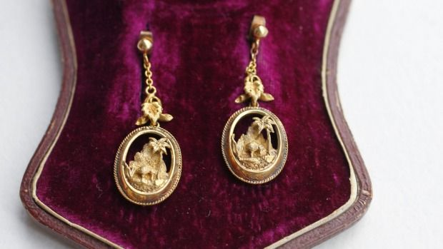 Classic 19th-century Kiwiana iconography was one of the selling points that drove the price for this antique earrings ...
