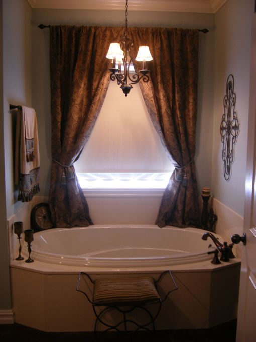 Master bathroom, Master bathroom done in blues and browns, This is our soaking…