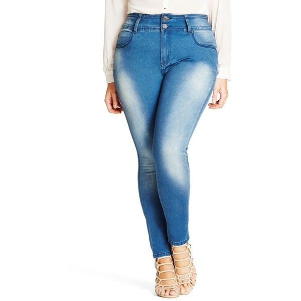 Plus Size Women's City Chic 'Harley' Stretch Skinny Jeans ($89) ❤ liked on Polyvore featuring plus size women's fashion, plus size clothing, plus size jeans, light denim, plus size, blue jeans, denim skinny jeans, womens plus size jeans, plus size skinny leg jeans and super stretch jeans