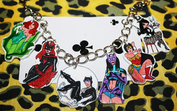 charm bracelets made to order. holds up to 7 charms . can be made from cartoon characters etc.   made with love , handle with care.  quirky charm bracelts are crafted from the heart but some TLC is needed too. while they are to a deree water proof , please dont wear in shower or while washing ...