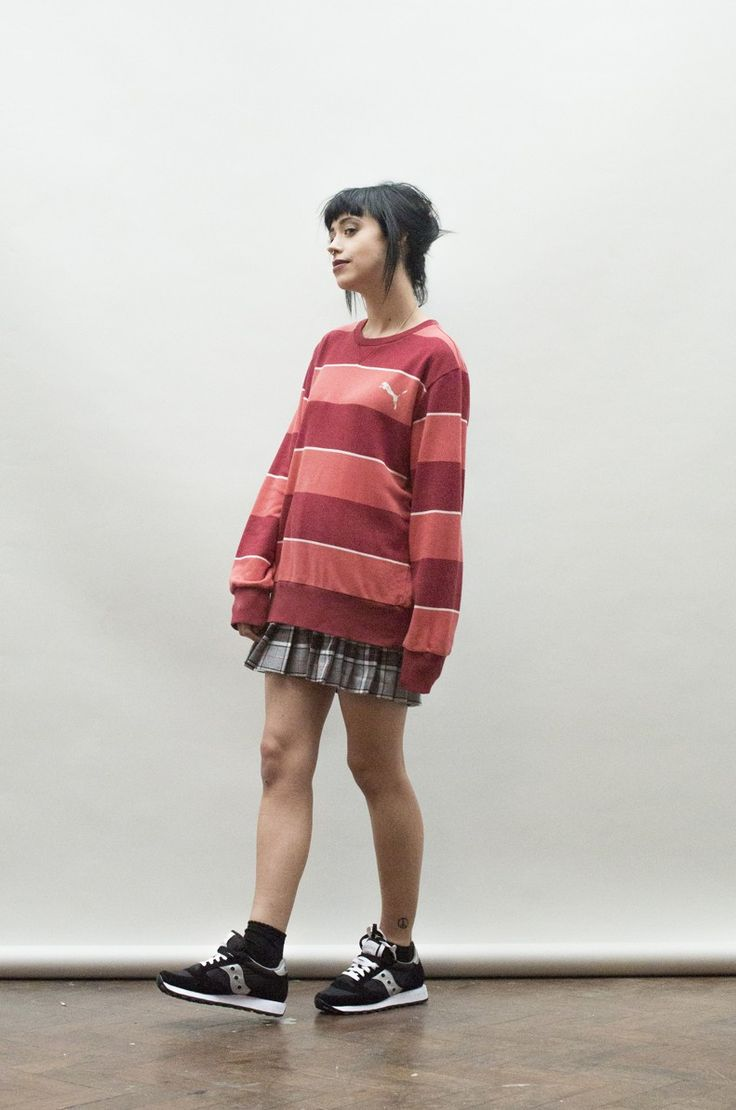 Retro oversized 90's stripy Puma sweater - sweaters - Womens Vintage | Retro & Vintage Clothes UK