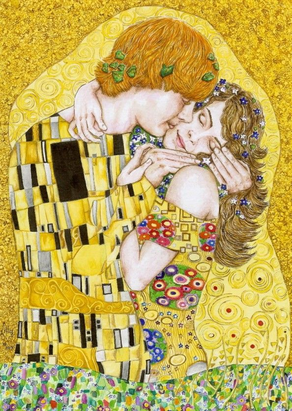 Gustav Klimt inspired art - The Kiss reinterpretation 5