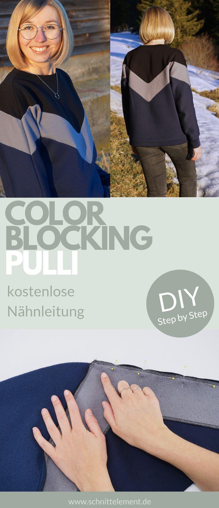Nu00e4hen: Color Blocking Pullover In diesem Beitrag zeige ich dir, wie du dir …