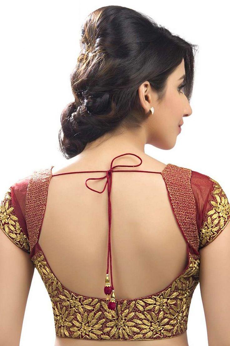 #Maroon & #gold Raw #silk & net ravishing #blouse with cap sleeves -BL556