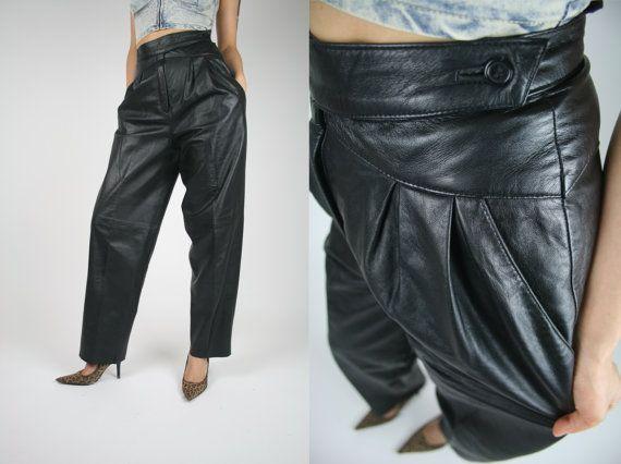 pantalon de cuir 80 39 s taille haute par maymunvintage sur. Black Bedroom Furniture Sets. Home Design Ideas