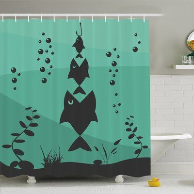 Ambesonne Fishing Fish Eats Little In Bubbles Underwater Ocean Symbolic Icons Theme Shower Curtain Set Size