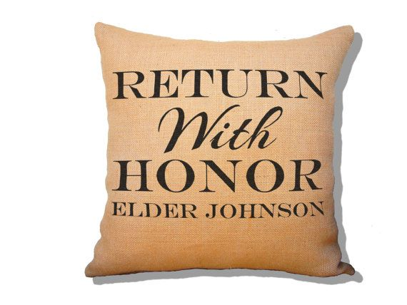 Return with Honor Personalized Burlap Pillow by SweetPickleShop