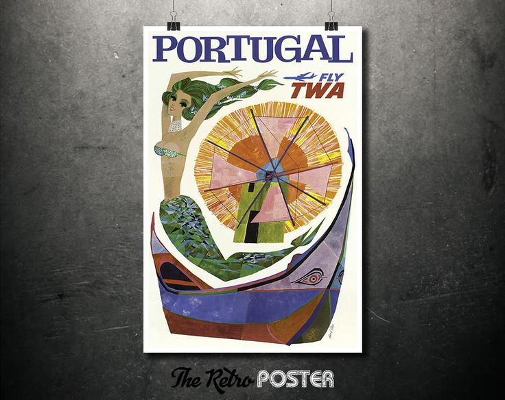 Portugal - Fly TWA - David Klein Poster, 1960s Posters, Travel Poster, Portugal Gifts, Trans World Airlines, Airline Poster, Aviation Art by TheRetroPoster on Etsy