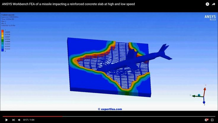 ANSYS Workbench FEA of a missile impacting a reinforced concrete slab at...
