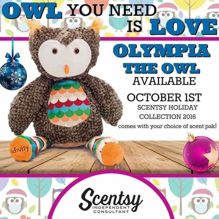 """Scentsy's """"Olympia the Owl"""" limited edition stuffed animal, fragrance buddy. New for Holiday 2016. Includes choice of fragrance scent pak #ScentsWithStina"""