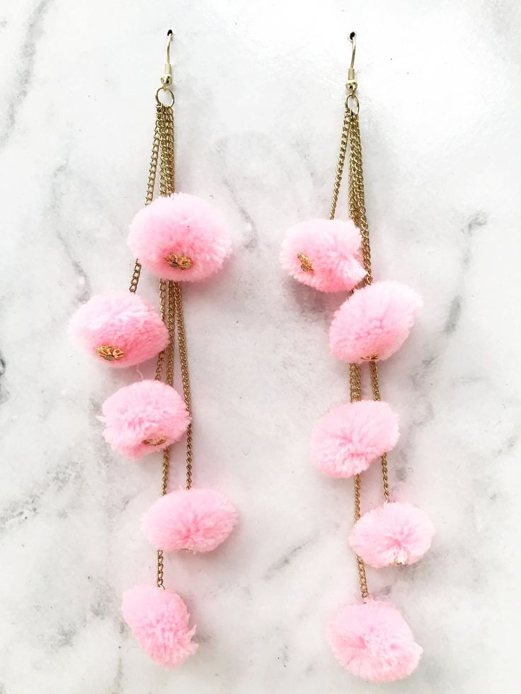 Pink Pompom Chain Earring