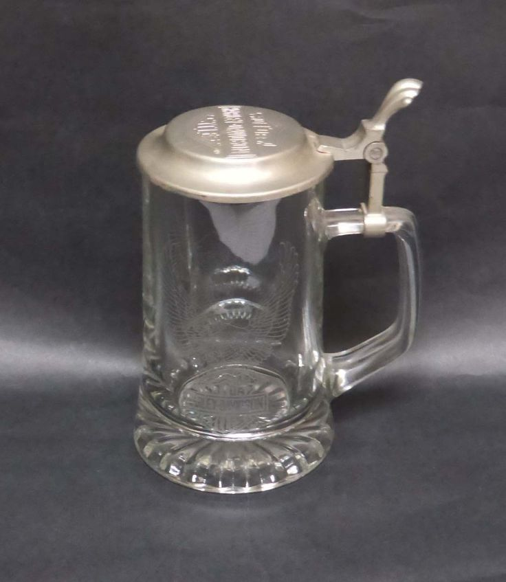 Harley-davidson Glass Beer Stein With Embossed Eagle & Pewter Lid-free Shipping!