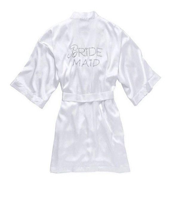 """White Silky Night Gown for Women Wedding Robe,Sexy Satin Robes Ladies Kimono Bathrobe,Noiva Bridal Robe """"Bride"""" Graphic on Back"""