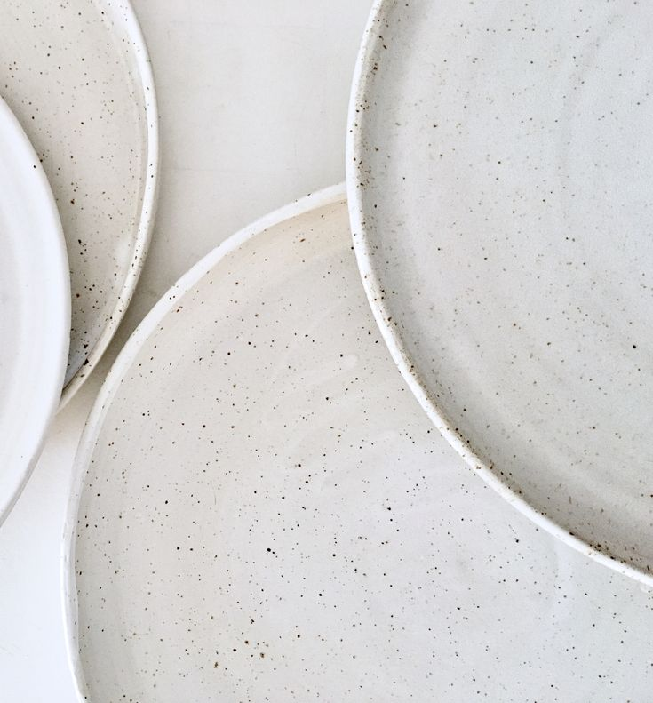 Spotted white plate by spiek ceramiczny