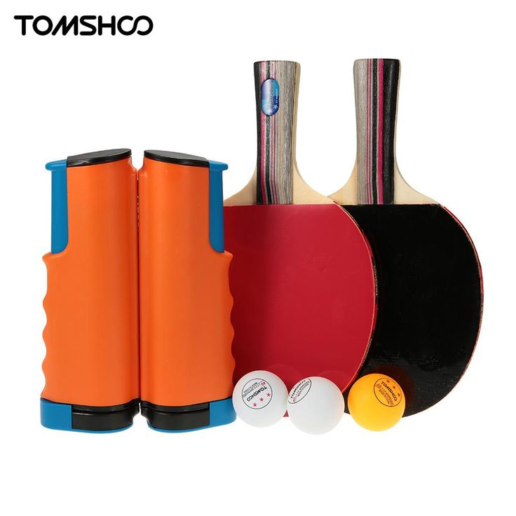 TOMSHOO Portable Table Tennis Set Sports 1 Pair Table Tennis Rackets + 3 Balls +1 Retractable Ping Pong Net Tenis De Mesa