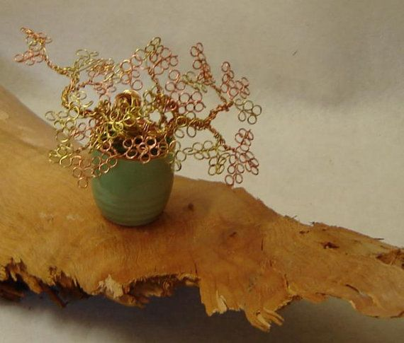 Wire Tree Sculpture -Copper, Gold Color Rings -  Bonsai Wire Tree - Light Green Sake Cup - Miniature Wire Tree Sculpture - Zen Bonsai Tree