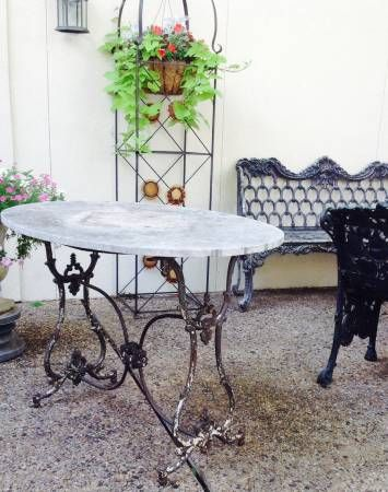 Captivating A Superb Antique French Marble Top Pastry Table. Dimensions: L. 47 X D