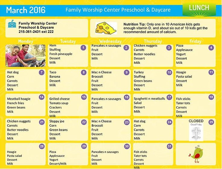 Daycare Lunch Menu | Preschool Lunch Menu | Lansdale Day Care