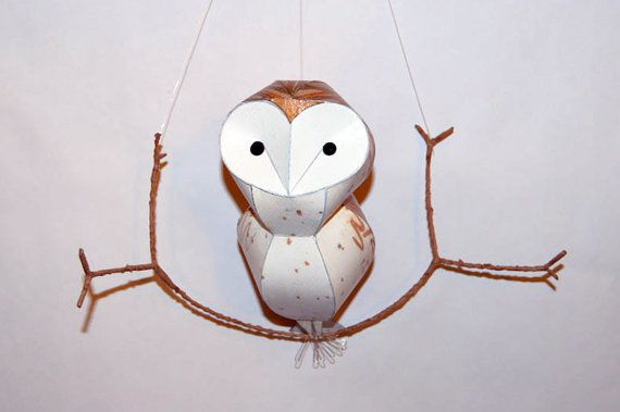 Barn owl Woodland mobile, faux taxidermy bird wall hanging paper sculpture  Artemis is a little barn owl. She is spotted white on her breast and brown copper tones on her back. She is one of a kind.  She measures 25x19x9cm on her little branch (10x7.5x3.5 inches). This is my smaller size barn owl. I also make a larger one at 30 cm tall.  Free gift wrap and shipping, worldwide.  My paper sculptures are hand printed, built and designed by me in my studio at Manchester Craft and Design Centre…