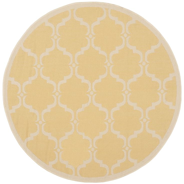Safavieh Indoor/ Outdoor Moroccan Courtyard Yellow/ Beige Rug (5' Round) - Overstock Shopping - Great Deals on Safavieh 7x9 - 10x14 Rugs