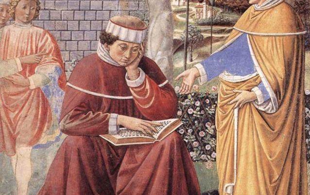 Augustinus van Hippo – Theoloog en kerkvader.   Augustinus door Benozzo Gozzoli (15e eeuw)
