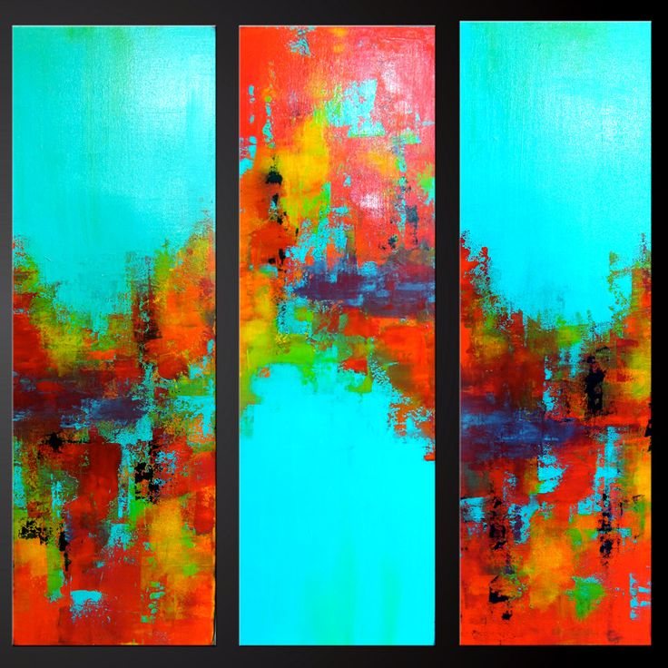 Carousel 9 30 x 10 set of three abstract acrylic for Abstract painting on black canvas