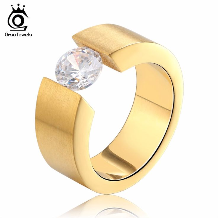 ORSA JEWELS Fashion Wedding Engagement Rings with 1ct Luxury AAA Austrian Cubic Zirconia for Men Women Jewelry GTR23