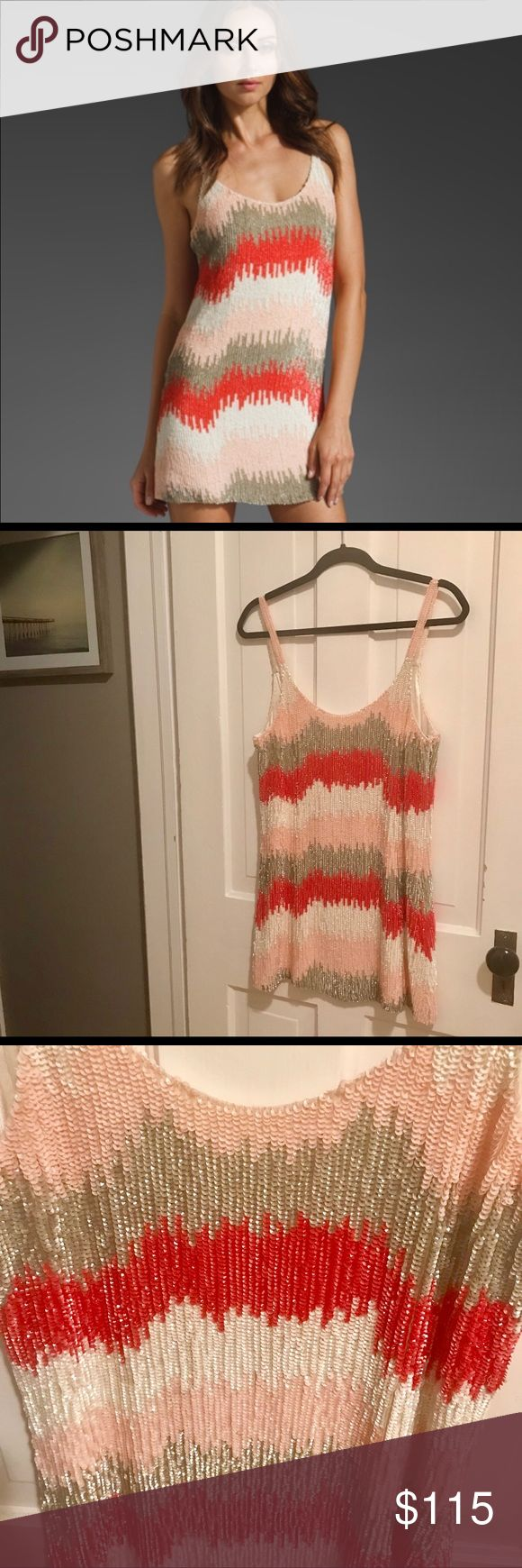 Parker 🎀 Pink Stripe Sequin Dress Purchased off PM + never ended up wearing. Size women's small. Fits true to size. Beautiful detail and like new! A few missing sequins on the right tank (see 📸 for details). Barely noticeable. Retailed for $398. Does not include extra beans or sequins. Sorry! No ❌ trades! Parker Dresses Mini