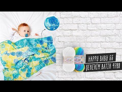 Tığ işi ile batik desenli bebek battaniyesi - Batic design of baby blank...