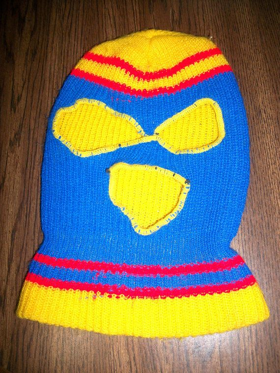 5529e42a234a80 70s Creepy Ski Mask Full Face Eye Mouth Holes Halloween Robber 1970s Retro  Winter Skull Cap Scary Mask Blue Yellow Red Unisex One Size