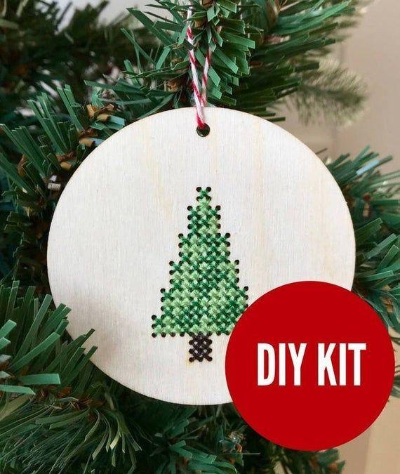 Christmas Tree Ornament Easy Diy Cross Stitch Kit Laser Etsy In 2020 Easy Diy Cross Stitch Diy Cross Diy Cross Stitch