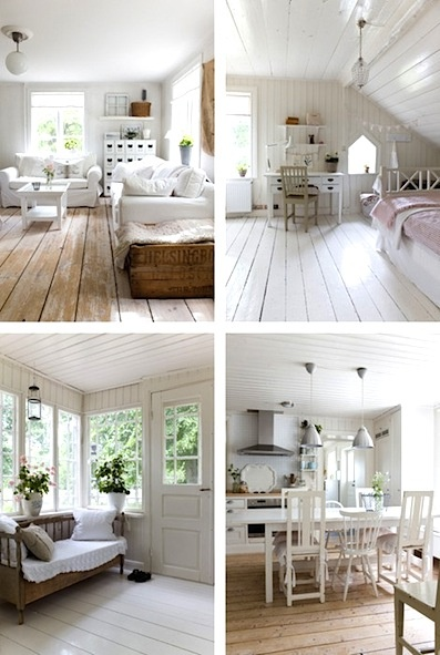 Bare floorboards and lots of white paint - lovely!