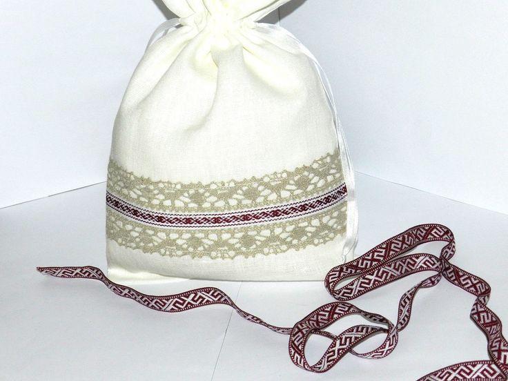 Linen gift bag, white storage bag, Lined Linen bag with soft cotton, Linen gift bag, Favor bag, Christmas gift bag, Reusable big gift bag by Jolanyasewing on Etsy