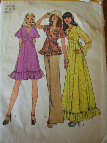 Simplicity,6600,dress,maxi,blouse,bust,38,Simplicity 6600, bust 38 dress pattern, 1970s sewing pattern, bust 38 blouse pattern, ruffled dres...