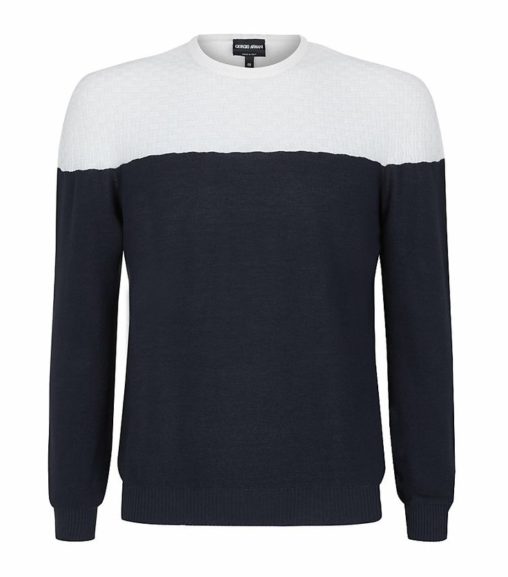 #GiorgioArmani Contrast Panel Sweater