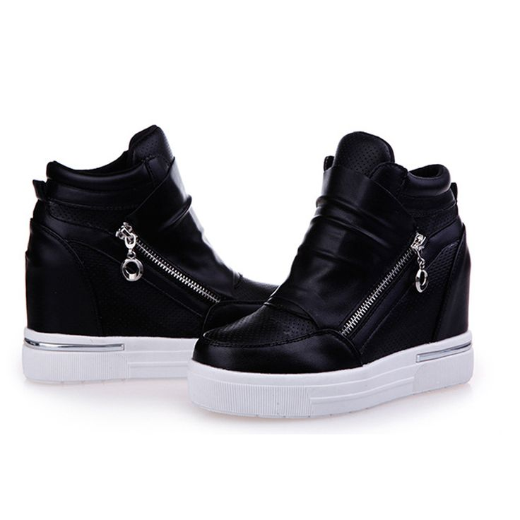 Frete grátis sapatos womancasual sapatos zíper aumentando salto zapatos de tacon alto em preto sapatos casuais zapatillas mujer 57 em Mulheres ' s sapatos casuais de Sapatos no AliExpress.com   Alibaba Group