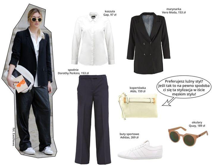 Zamiana płci? Czemu nie! Szerokie spodnie a la szwedy + koszula + marynarka + superstary Adidas. I koniecznie przełamujący cała tą męska stylistykę dodatek. Kolorowa torebka będzie w sam raz!