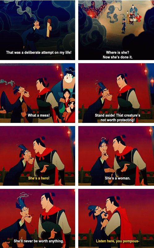 Shang defending Mulan.  Always loved him for that.  He believes in her.  :)