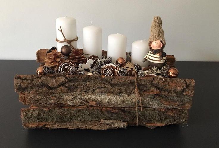 Erdei fakérges manóval   / advent   karácsony  koszorú  gyertya  egyedi  saját készítésű  ünnep  toboz  manó /