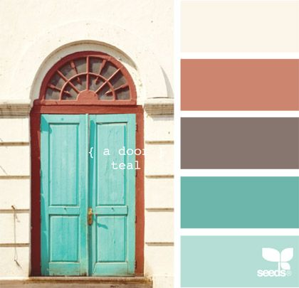 A teal door: Living room. I'd carry over the same chocolate tone that was in the kitchen here.