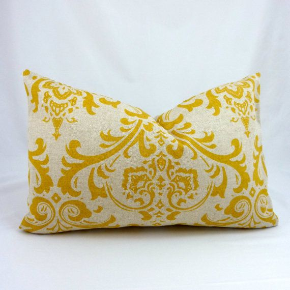 Designer Lumbar Pillow Cover in Traditions Corn Yellow - 12x18 inch (Mustard Yellow Damask on Natural Linen)