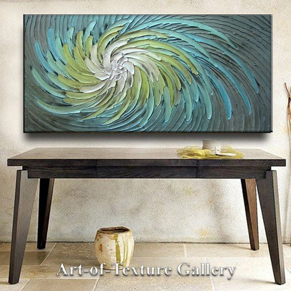 Abstract Painting 48 x 24 Original Custom Heavy Texture Carved Sculpture Floral Aqua Silver Beige Modern Oil Painting by Je Hlobik